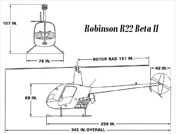 Helicopter R22 BETA II scheme